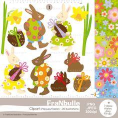 Clipart Pâques, clipart lapin de Pâques, lapin, cliparts, décor de Pâques, lapin, oeufs, jonquilles, digital paper fleurs, clipart jonquille de la boutique FraNbulle sur Etsy