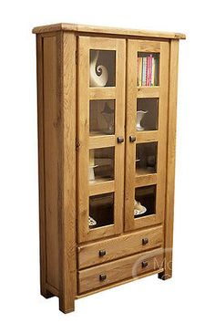 Danube Weathered Rustic Oak Furniture Glazed Display Cabinet Living Room Dan038