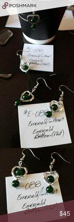 EMERALD EARRINGS - PIERCED (#E-088) Genuine Semi-Precious Gemstones #EMERALD Nickel and Lead Free  Hook Style #Earrings for Pierced Ears Coastal Focals of VABVA Jewelry