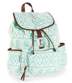 Crochet Backpack - Aeropostale (Just need it in pink) Crochet Backpack, Backpack Purse, Mini Backpack, Stylish Backpacks, Girl Backpacks, Cute Teen Backpacks, Leather Backpacks, Leather Bags, Ropa Color Pastel