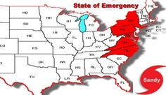 Several East Coast states under emergencies ahead of Hurricane Sandy.