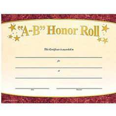 a b honor roll gold foil stamped certificate - B Honor Roll Certificate Template