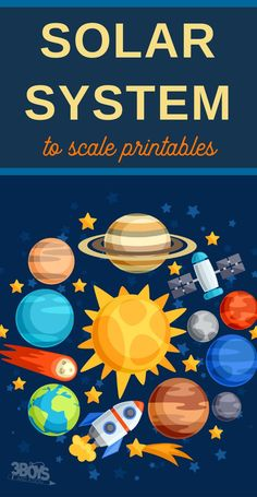 In addition to these printable scaled-to-size planet printables, I also made a list of several great solar system printables and activities. I hope you find it useful in your solar system for kids learning adventures! Planets Activities, Solar System Activities, Space Activities For Kids, Space Crafts For Kids, Science For Kids, Planets Preschool, Printable Activities For Kids, Solar System To Scale, Solar System Art