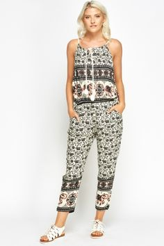 5d5327f041 Mixed Print Casual Jumpsuit - Navy Multi or Black Multi - Just £5