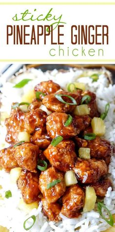 Sticky Pineapple Ginger Chicken ---- (Baked or stir fried Pineapple Ginger Chicken smothered in the most crazy delicious sweet pineapple sauce with a ginger Sriracha kick that is WAY better than takeout! Turkey Recipes, Chicken Recipes, Dinner Recipes, Chicken Meals, Ginger Chicken, Sesame Chicken, Teriyaki Chicken, Lemon Chicken, Chicken Satay