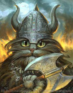 VIKING, Viking Cat Art, Decorative Art // Cat Art Wall Hanging // 8 X 10 PRINT // Viking Print // Cat Poster Art Print // Viking Cat