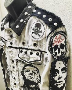 Evil A Go Go white denim jacket by Chad Cherry Punk Outfits, Grunge Outfits, Punk Fashion, Gothic Fashion, Custom Clothes, Diy Clothes, Post Apocalyptic Costume, Punk Jackets, Battle Jacket