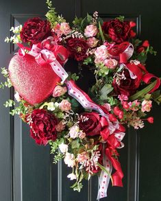 Valentine's day front door wreath. Decorating with love.