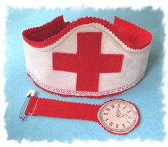 Childrens Dress Up, Felt Crown, Nurses Hat, Fob Watch