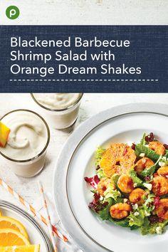 Barbecue and blackening seasonings add kick. Barbecue Shrimp, Publix Recipes, Orange Salad, Tasty, Yummy Food, Shrimp Salad, Recipe Details, Banana Bread Recipes, Fish And Seafood