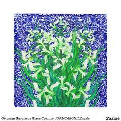 Ottoman Narcissus Glass Coaster