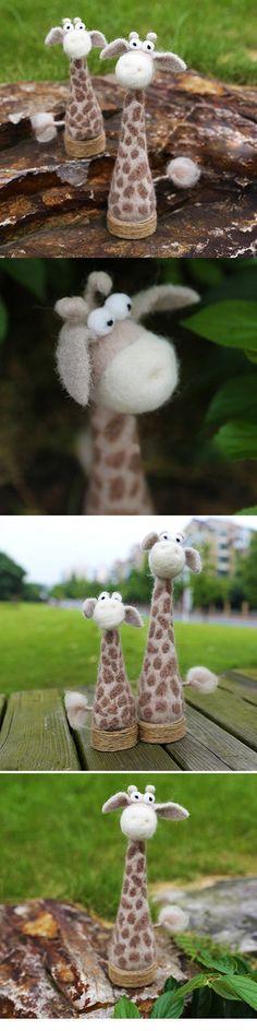 Handmade Needle felted felting project cute animal giraffe ornament felted doll #feltanimalsdiy