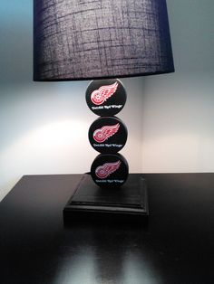 Detroit Red Wing Hockey Lamp by PuckinCrazyLamps on Etsy