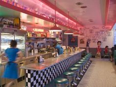 Vintage Decor Ideas Photographic Print: The 66 Diner Along Historic Route Albuquerque, New Mexico by Michael DeFreitas : - Vintage Diner, Retro Diner, Vintage Style, Diner Aesthetic, Purple Aesthetic, Aesthetic Anime, Vintage Industrial Decor, Industrial House, Industrial Style