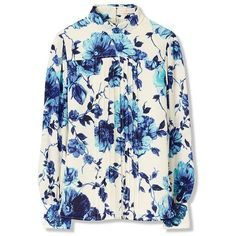 Tory Burch Lili Blouse (£440) ❤ liked on Polyvore featuring tops, blouses, rosemont floral, blue blouse, floral blouse, button blouse, blue floral blouse and tory burch blouse