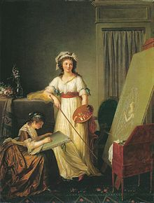 Atelier einer Künstlerin, wohl Mme. Vigée-Lebrun und eine Schülerin, gemalt 1796 von Marie-Victoire Lemoine