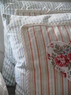 TOWN COUNTRY HOME: Sonne, Sommer ...Great idea to use fabric scraps and embroidery......