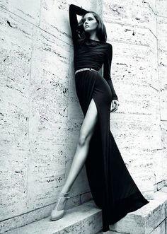 long slender black dress