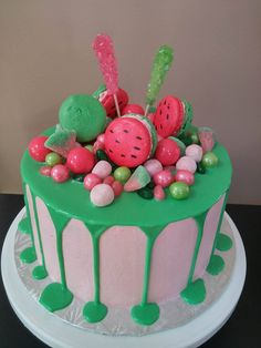 Watermelon Themed Drip Cake Tutorial!