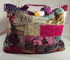 Boho Chic Couture Gorgeous One of a kind Handmade Large Roomy Collage fabric Tote bag. via Etsy Patchwork Quilting, Patchwork Bags, Quilted Bag, Quilts, Handmade Purses, Handmade Handbags, Handmade Fabric Bags, Handmade Bracelets, Fabric Tote Bags