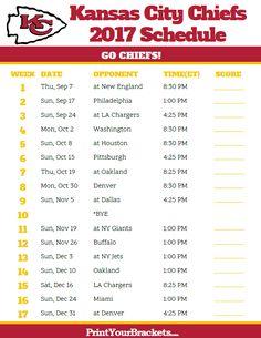 2017 Kansas City Chiefs Football Schedule