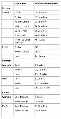 Alena's Originals: Necklace Length Guide