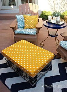bright and sunny outdoor fabric ottoman, outdoor furniture, outdoor living, painted furniture, reupholster