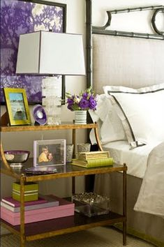 2 nightstands...objects in pairs...pictures of happy couple moments...flowers...feng shui nightstand perfection!