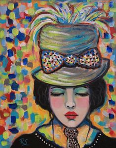 I am inspired by artists of the past, from Matisse to Degas, and so many others, that made such beautiful portraits of women! Portrait of Morgan – is an 8 x 10 inch acrylic painting on Raymar professional art panel. A beautiful image of a fashionable beauty with a top hat, feathers and bow! She is surrounded by color and shapes. She is a part of my Dream series...daydreaming ladies of fashion. I love creating these portraits of grace and beauty, with a vintage flair. I hope you enjoy them…
