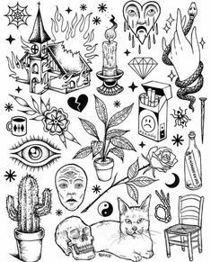 Traditional Tattoo Outlines : traditional, tattoo, outlines, Image, Result, Traditional, Tattoos, Black, White, Halloween, Tattoo, Flash,, Outline,