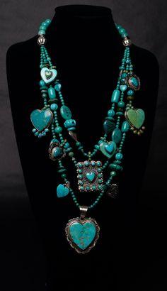 turquoise jewelry set | Kim Yubeta design | repinned by www.blucats.com