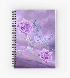 $12 Purple&Pink #MusicNotes&Roses #SpiralNotebook by #MoonDreamsMusic #SchoolSupplies