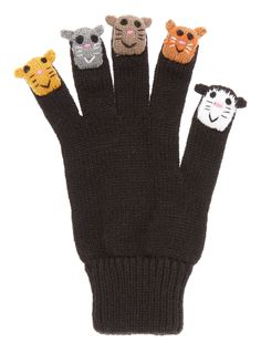 Ideal for the colder months, these novelty cat finger puppets are knitted with stretch and feature a ribbed hem. Black cat finger puppet glove Knitted Cat poppet embroidery Ribbed hem Stretch