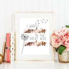 Inspired by one of our favorite scenes from Beauty & the Beast, this print features a sweet dandelion bloom, plus text in black and rose gold foil. It reads I want adventure in the great wide somewhere.  This 8x10 art print is printed on heavy, matte cardstock with archival inks. Its bagged and boarded and shipped in a rigid mailer. These prints are designed and created completely in our studio in San Diego, CA. The foil is applied by hand, and might have slight variations.
