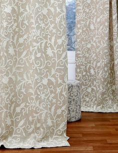 Antimal Crewel Curtain Panels And D Hand Embroidered Linen Fabric