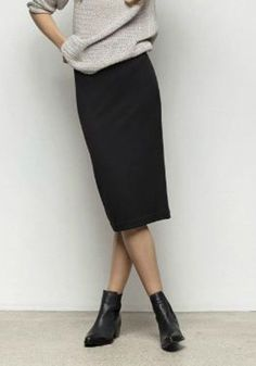 Black Plain Zipper Fashion Skirt