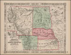 Idaho Nebraska Colorado Territory Map Antique Johnson 1864. This one of a kind original antique map of the Nebraska Colorado and Idaho Territory comes from Johnson's New Illustrated Family Atlas of the World. Published by Johnson and Ward No. 133 Nassau Street New York in 1864. The Family Atlas was first published by Johnson in 1860 and continued until 1870. Most of the maps were based on Colton's earlier maps as Johnson acquired Colton's rights around 1859 - ref. Rumsey.