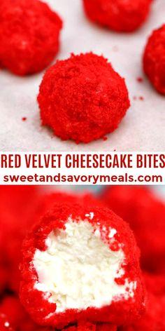 Red Velvet Cheesecake Bites are creamy and nothing but velvety! #redvelvet #dessert #velentinesday #dessert #treat #sweetandsavorymeals Great Desserts, Delicious Desserts, Dessert Recipes, Keto Desserts, Yummy Food, Cheesecake Bites, Cheesecake Recipes, Sweet Recipes, Yummy Recipes