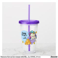 Unicorn Cat on Ice-cream with Monogram Acrylic Tumbler #Onmeprints #Zazzle #Zazzlemade #Zazzlestore #Zazzlestyle #Unicorn #Cat #Ice-cream #Monogram #Acrylic #Tumbler Unicorn Cat, Little Unicorn, Stationary Gifts, Sticky Fingers, Acrylic Tumblers, Tea Mugs, Mug Cup, Special Gifts, Ice Cream