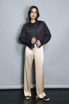 Veda Resort 2017   Beige silk pants + black bomber jacket [Photo: George Chinsee]
