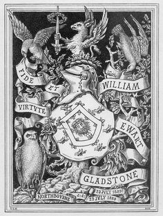 Bookplate of William Ewart Gladstone  Created by Samuel Hollyer, 1889