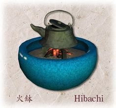 Hibachi ひばち is a traditional Japanese heating device.  hi means fire, bachi is Japanese reading of hachi when pronounce words and phrases continuously, means bowl. It's mostly ceramic cylindrical open-topped container, and keeps charcoal burning and ash. This ceramic color is very popular.