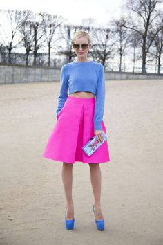 cropped sweater + bright midi skirt