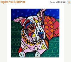 50% Off Today- Beatrice art Tile Ceramic Coaster Mexican Folk Art Print of painting by Heather Galler dog