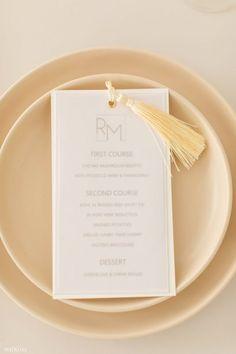 WedLuxe Media Circle of Love Mushroom Risotto, E Magazine, Braised Beef, Menu Design, Tassel, Stuffed Mushrooms, Wedding Day, Stationery, Place Card Holders