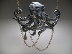 Large Silver #Octopus Necklace - Wearable Art by #MythicSculptlore