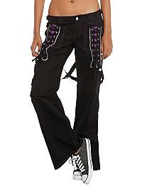 HOTTOPIC.COM - Tripp Black And Purple Lace-Up Chain Pants