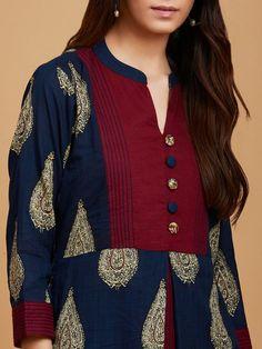 Buy Blue Maroon Kalamkari Hand Printed Cotton Kurta online at Theloom Collar Kurti Design, Kurti Sleeves Design, Sleeves Designs For Dresses, Neck Designs For Suits, Kurta Neck Design, Dress Neck Designs, Blouse Designs, Silk Kurti Designs, Salwar Neck Designs