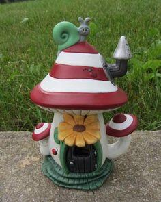 Handmade fairy house   Mushroom flowers snail by TeresasCeramics, $25.00