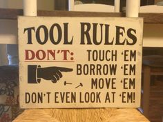 Tool Rules Rustic Wood Sign Dad Gift For by DaisyPatchPrimitives, $31.99